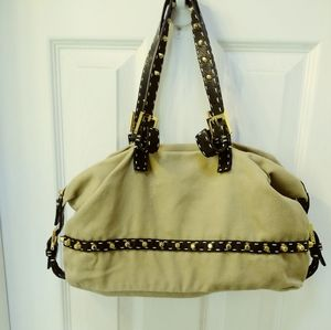 Fendi selleria tan canvas studded shoulder bag